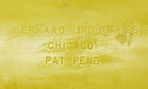 Bernard Industries of Chicago writing desk, imprint