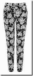 Warehouse Mono Floral Print Stretch Trouser