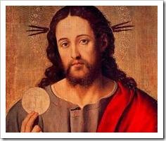 Jesus segura a Eucaristia