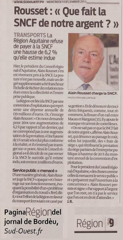Alain Rousset parla clar fàcia a la SNCF e los quadres de l'entrepresa d'Estat
