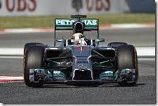 Hamilton nelle prove libere del gran premio di Spagna 2014