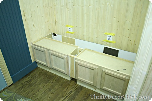 DIY bench with kitchen cabinets