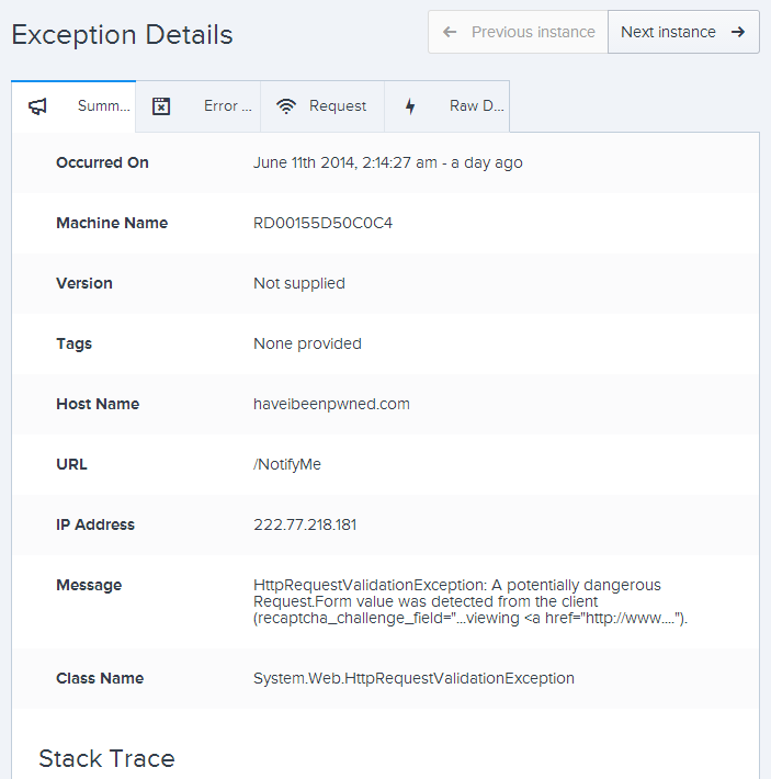 The exceptions details screen with more info