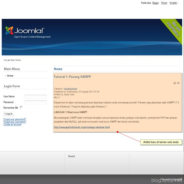 artikel baru dalam laman web Joomla! 1.7