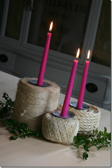 diy projects with jute--use spool of jute as a candle holder