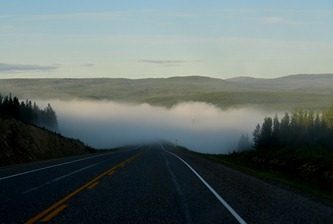 we are in and out of the fog along the Llaird River