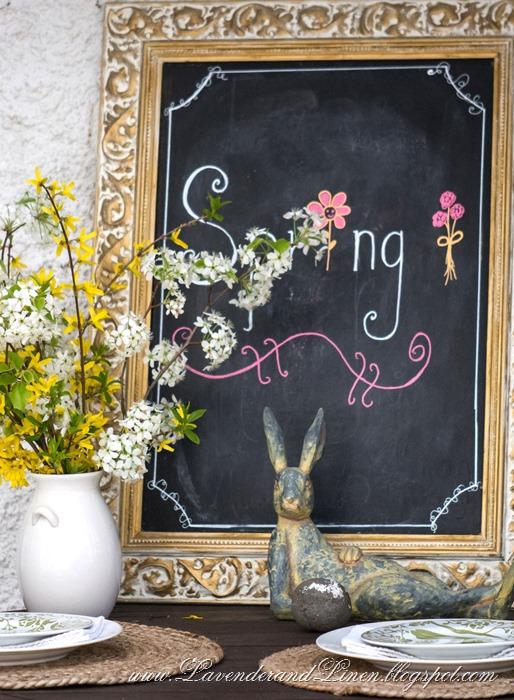 Spring chalkboard in Lavender & Linen's garden