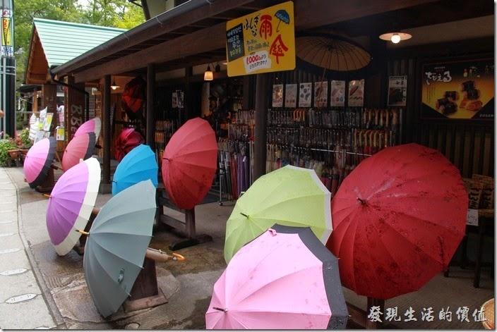 雨傘似乎也是湯布院這裏的特色之一,有好多的店家賣雨傘,這雨傘有好多種漂亮的花色。