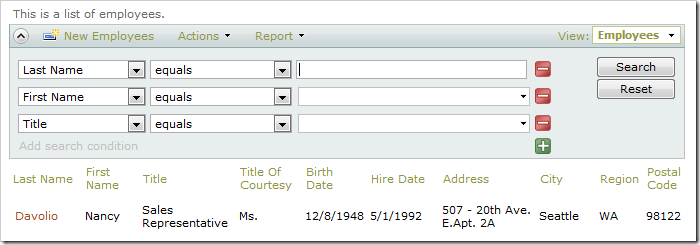 Last Name search field with Auto Complete disabled.