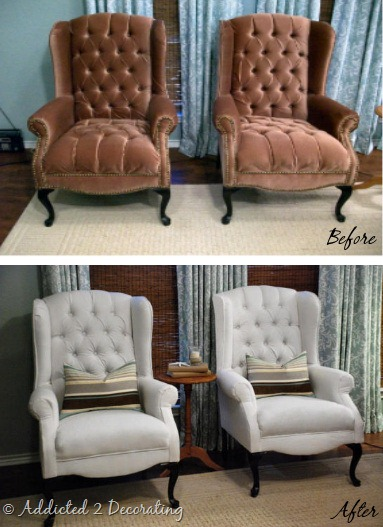 wingback chairs before and after