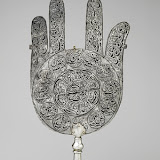 Standard in the shape of a palm, early 18th century Iran Silver with black inlay