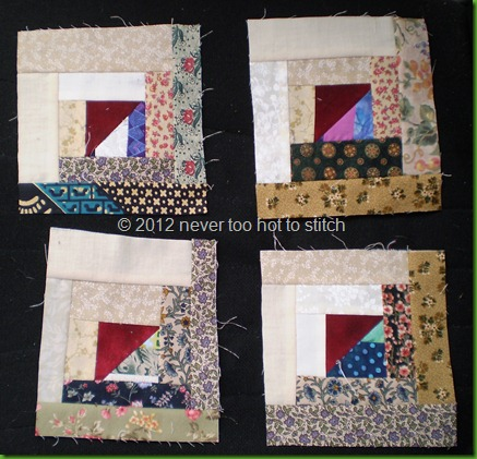 2012 Scrappy Log Cabin blocks underway 4 of 24