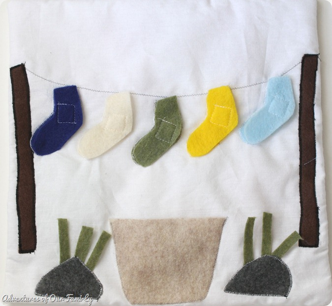 Quiet book sock matching kids activity