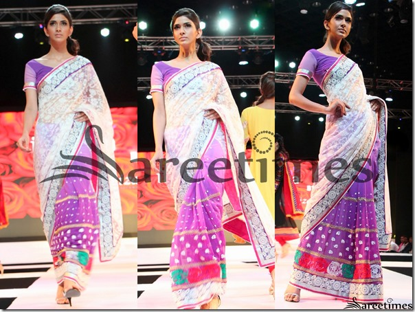 White_Magenta_ Half_and_Half_Saree