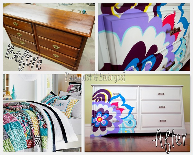 Paint a dresser to coordinate with bedding! {Sawdust and Embryos}