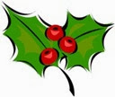 Christmas holly with 3 berries