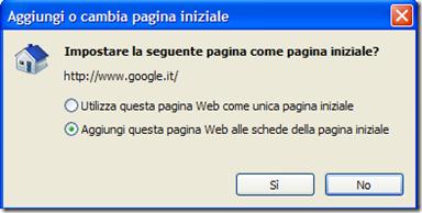 Aggiungi o cambia pagina iniziale Internet Explorer