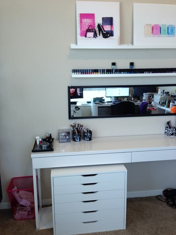 IKEA BESTA Desk as vanity with ALEX drawer system