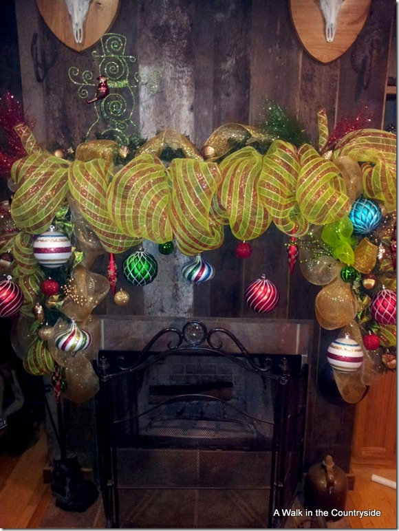 a walk in the countryside: mesh mantel using chicken wire
