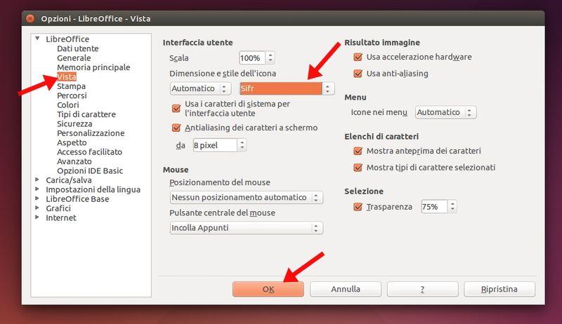 LibreOffice 4.2 - impostare icone Sift