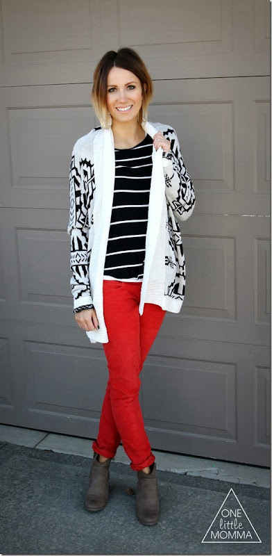 Stripes, aztec sweater, and red cords