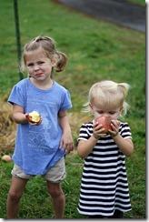 Apple picking, both girls