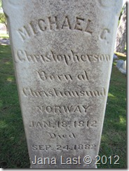 Grave Marker of Michael C. Christopherson born in Norway January 18 1812 Died in Utah September 24 1882