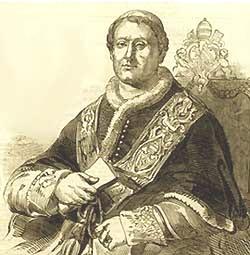 Papa Pio IX appena eletto (incisione)