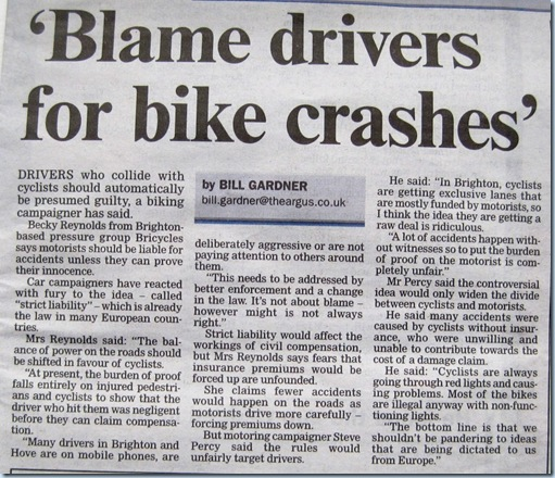 Blog 20120131 - Argus'Blame drivers for bike crashes'
