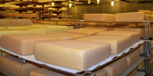 Our cheese cellar, December 2008. Approximately 20,000 pounds of cheese. This is a lot.