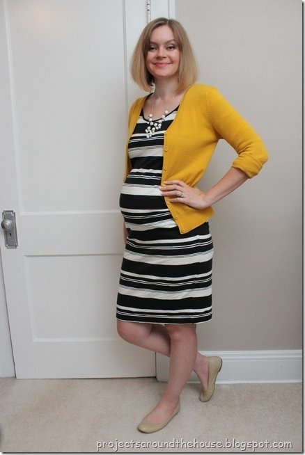 black and white striped dress, mustard cardigan