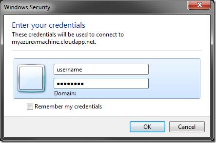 Entering credentials for the remote virtual machine.