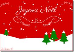 Carte printable joyeux noel rouge et blanc sapins