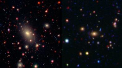 dois aglomerados de galáxias brilhantes