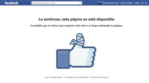 facebook pagina no esta disponible