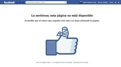 facebook pagina no esta disponible