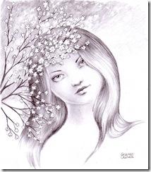 Portret de primavara - Chipul primaverii o fecioara frumoasa ca o primavara desen in creion - Spring portrait pencil drawing