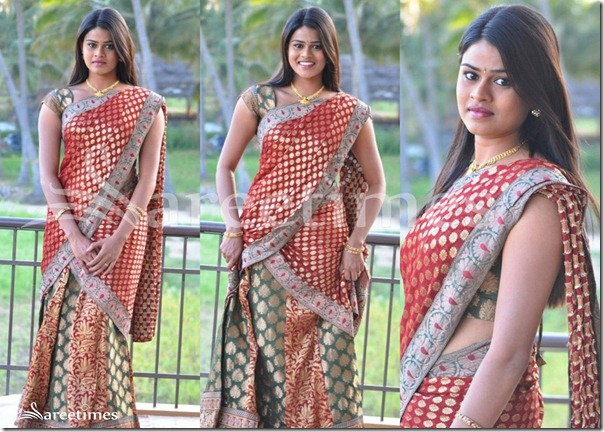 Lakshmika_Red_Green_Half_Saree