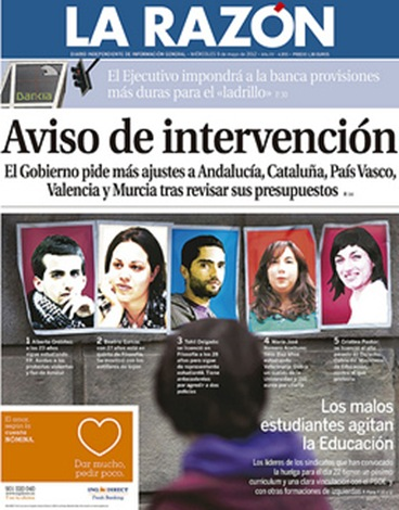 15-M  portada de La Razn