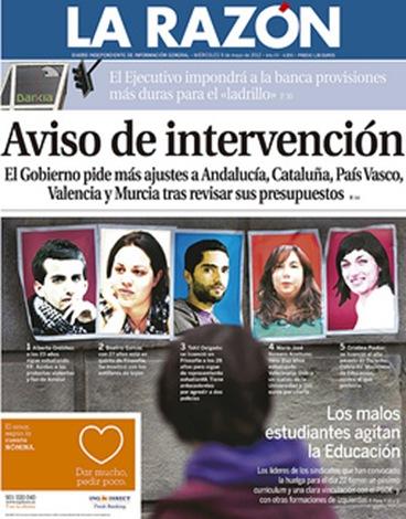 15-M  portada de La Razón