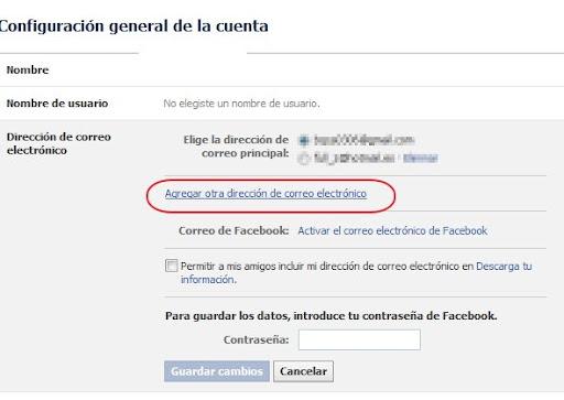 Facebook agregar correo