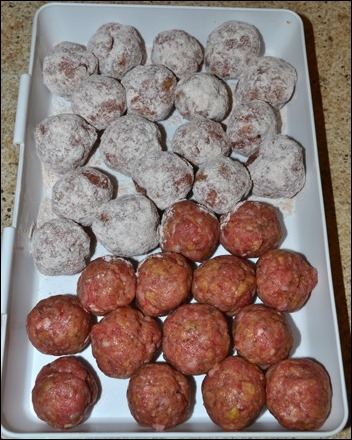 dredge meatballs in flour