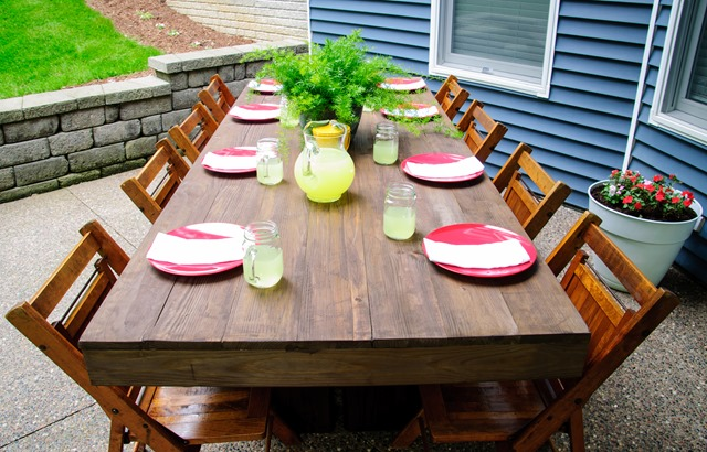 Backyard Table Diy : Decor And The Dog DIY Outdoor Patio Table Tutorial