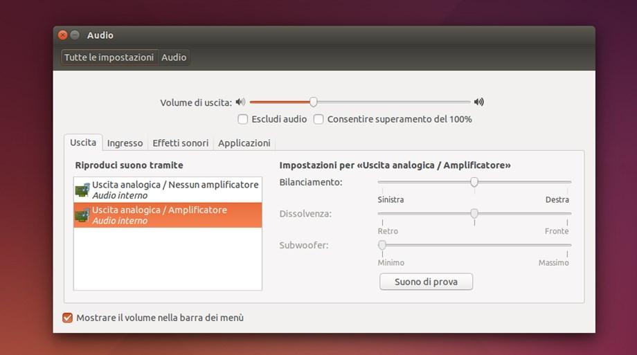 Ubuntu - Impostazioni Audio
