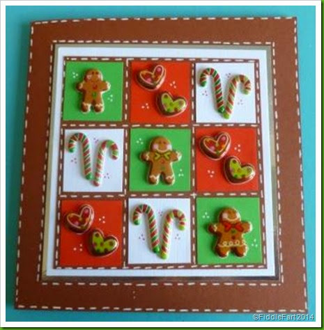 Gingerbread Man Christmas Card.  HobbyCraft Stickers