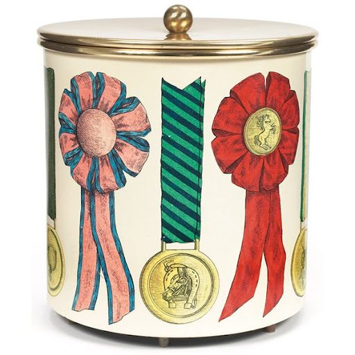 This vintage Fornasetti Ice Bucket is adorned with horse ribbons -- so fun! (liveauctioneers.com)