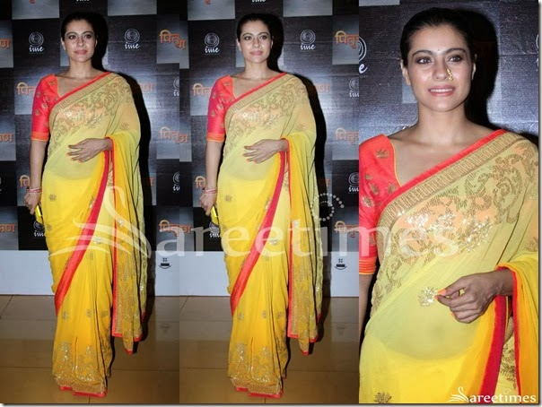 Kajol_Yellow_Georgette_Saree