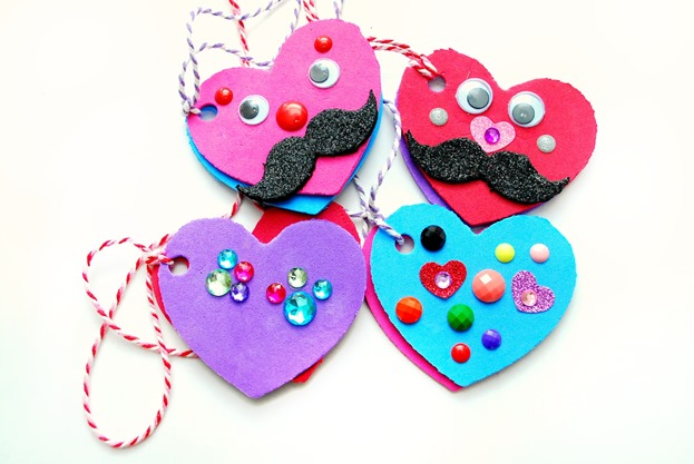 Valentines Day Kids Craft -- Foam Heart Lockets