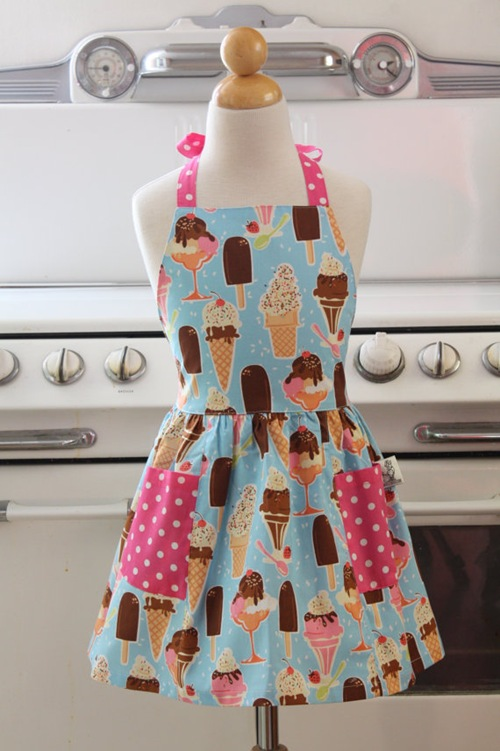 Retro Ice Cream Sundae &amp; Popsicle Apron by Boojiboo 