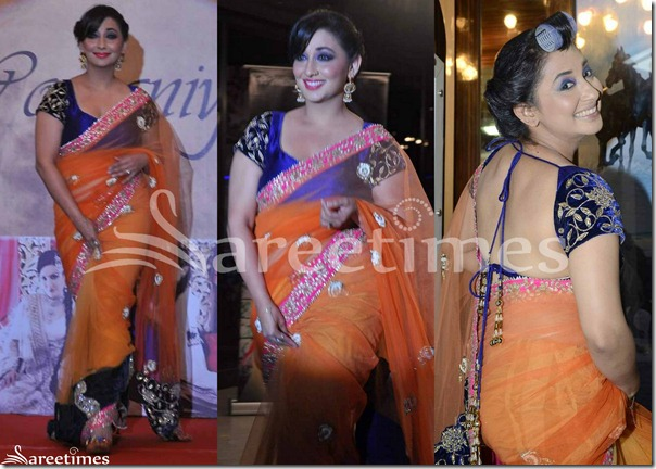 Orange_Embrodiery_Net_Saree